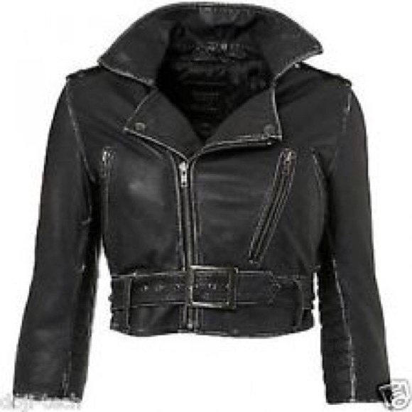 0dba67962 Kate Moss for Topshop cropped leather jacket