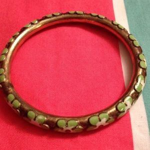 Vintage Brass flower bangle bracelet