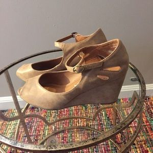 Madeline Stuart Shoes - Madeline Stuart Faux Leather Tan Wedges