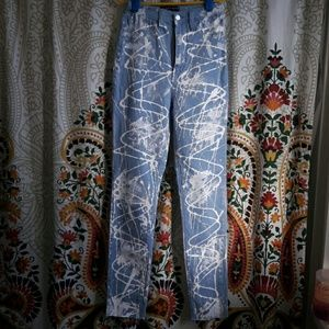 High waist paint splatter jeans