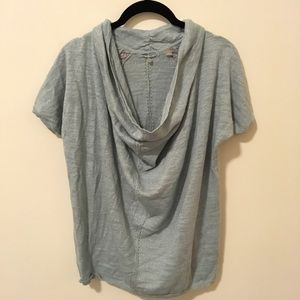 Anthropologie Knitted & Knotted Blue Metallic Top
