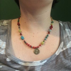 sundance Jewelry - Sundance bronze circle charm beaded necklace