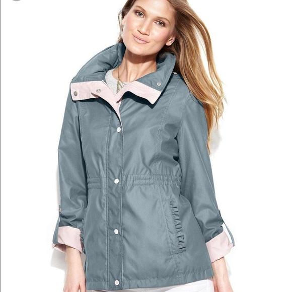 9eb2171c952e8 Jessica Simpson Jackets & Blazers - Jessica Simpson anorak blue gray and  pink raincoat