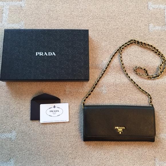 5f237a6f3e38 Prada Bags | Authentic Saffiano Wallet On Chain | Poshmark