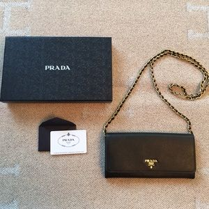 Prada Handbags - Authentic Prada Saffiano Wallet on Chain