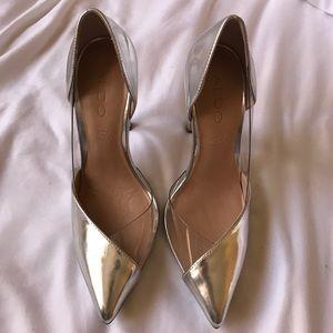Shoes - Silver & clear pumps