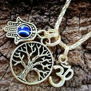 Maya Jewelry - Gold om tree hamsa evil eye protection necklace