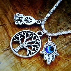 Maya Jewelry - Silver dharma wheel tree life hamsa  eye necklace