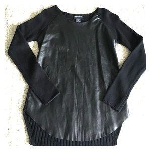 Central Park West Sweaters - Central Park West Black Cashmere Leather Sweater