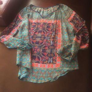 Tolani Tops - Tolani Silk Peasant top