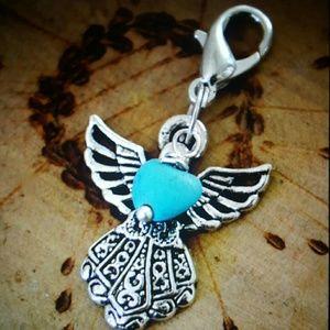 Maya Jewelry - Silver Angel blue turquoise heart chatm pendant