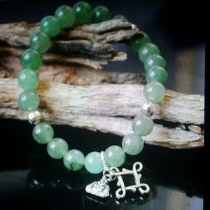 Maya Jewelry - Aventurine silver buddha love knot beaded bracelet