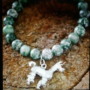 Maya Jewelry - Silver llama alpaca peruvian green agate bracelet