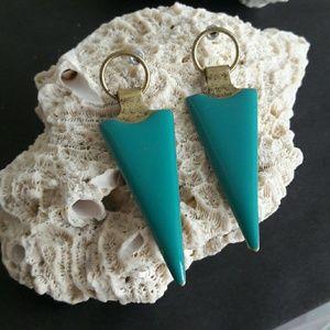 Turquoise Metal Post Earring