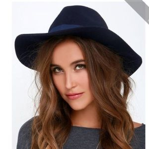 Accessories - NAVY BLUE FELT FEDORA WITH GROSGRAIN BAND