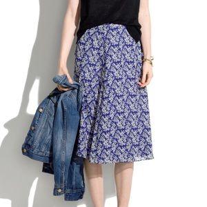 NWOT Madewell Blue Daisy Floral Silk Tumble Skirt