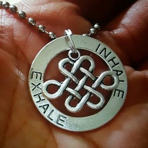 Maya Jewelry - Inhale exhale lg circle  love knot silver Necklace