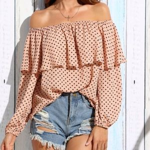 HOST PICK🌺OFF THE SHOULDER Peach Polka Dot Top🌺