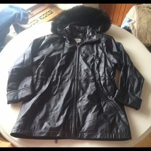 Vintage leather coat fur hood black