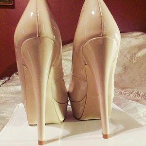 Aldo Prue patent nude platform heels