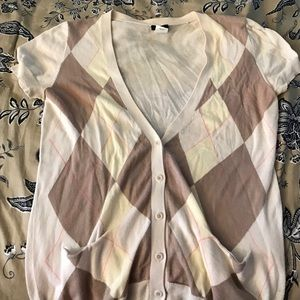 Jcrew argyle short sleeved cardigan