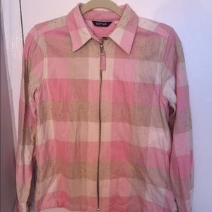 Krazy Kat Sweaters - NWOT Flannel Pink Checkered Zip Up Shirt Size M