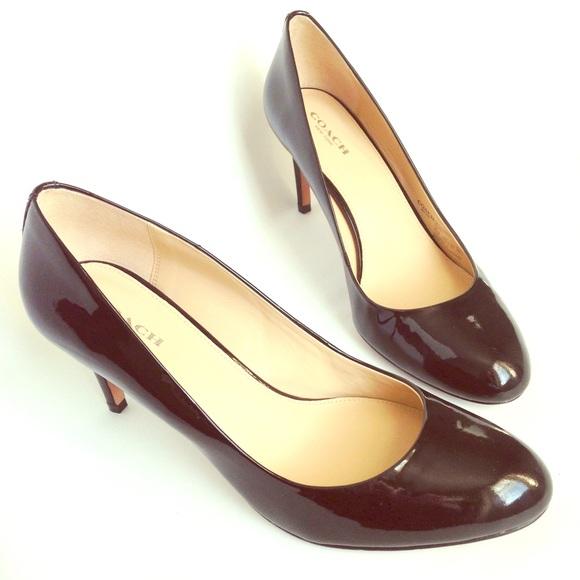 e0f1dbdd13 Coach Shoes | Euc 85 Black Patent Leather Rosey Heels | Poshmark