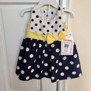 ::24 HR SALE:: NWT polka dot navy/yellow dress 12M