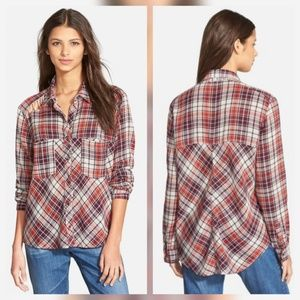 Free People Tops - Free People Gauze Plaid Lace Up Shirt Top