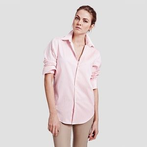 Lord & Taylor silk pink striped button down shirt