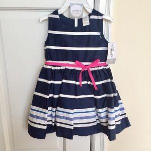 ::24 HR SALE:: Carters navy/white striped dress12M
