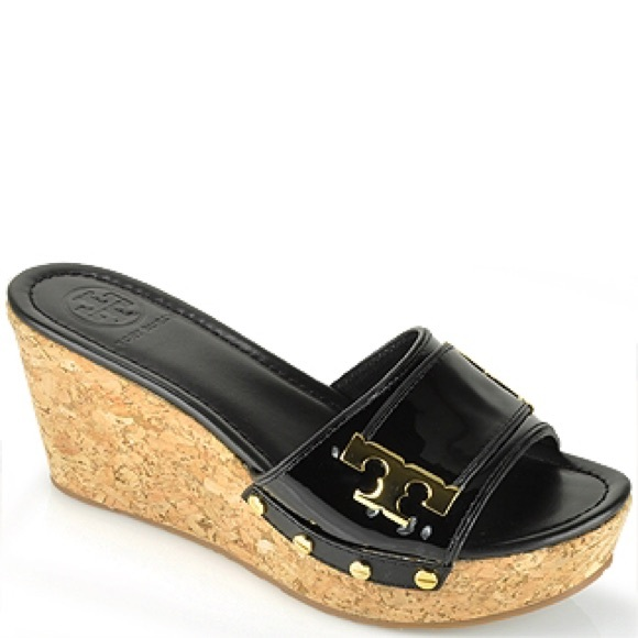 0980a30f9cf Tory Burch Pamela Cork Wedge Slides Black Sandals.  M 587147f67fab3a23400141c4