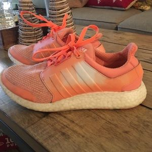 Adidas boost peach color sneakers