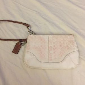 Coach Handbags - White Coach stained wristlet