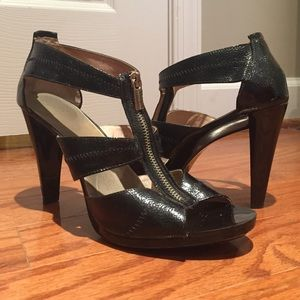 Michael Kors Black Open Toe Heels, Sz 9.5