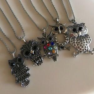 Jewelry - Owl Necklace Lot Set New
