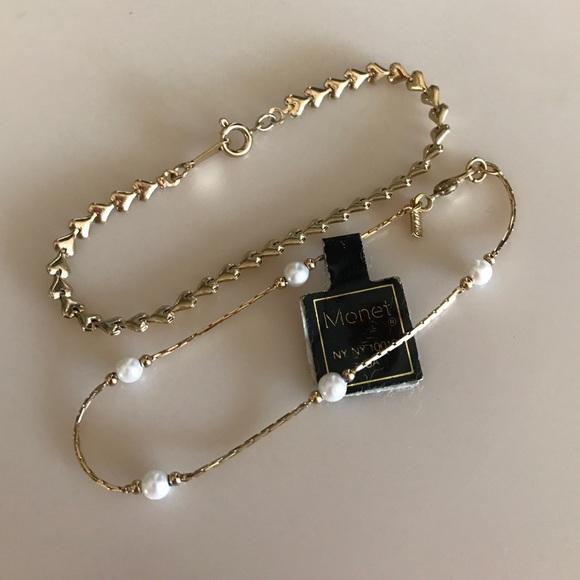 Is Monet Jewelry Real >> Monet Jewelry Heart Pearl Short Gold Costume Bracelets Poshmark