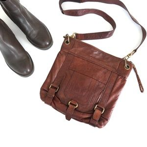 Brown Leather Crossbody Satchel
