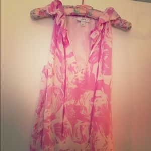 Loft Pink and White Sleeveless Blouse