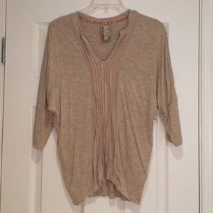 Anthropologie Tan 3/4 Sleeve Shirt, Sz L