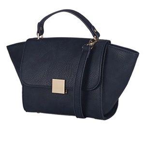 Handbags - Navy Vegan Pebble Leather Top Handle Bag