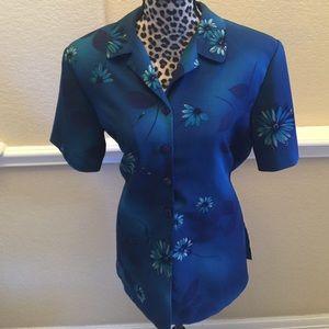 Laura Scott Tops - Teal floral button blouse.