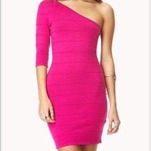 Forever 21 Dresses & Skirts - One sleeve hot pink bandage dress