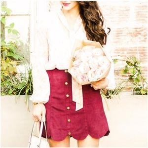 LC Lauren Conrad Dresses & Skirts - LAUREN CONRAD RED PLUM FAUX-SUEDE SCALLOP SKIRT
