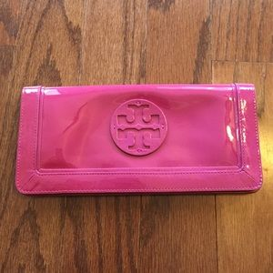 Tory burch purple patent leather wallet/ clutch