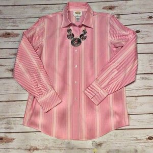 Talbots Tops - NWOT Talbots Pink and White Shirt Size 6