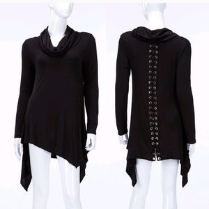 blossom Tops - Sale! Black Asymmetrical lace up back tunic