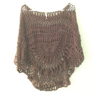 Brown willow and clay open sweater
