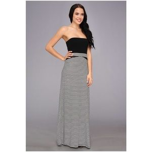 black and white horizontal striped maxi dress