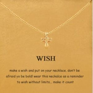 Gold Cross Wish Necklace